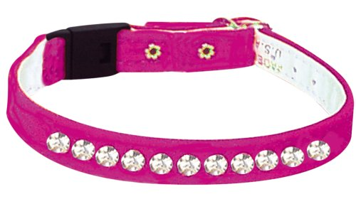 Pet Supply Imports - Pink Velveteen Jeweled Break Away Cat Collars Siz 12