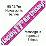 9ft Pink & Silver Hearts Holographic Happy 17th Birthday Banner (2.7m length)