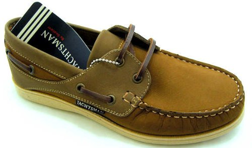 Women's L72025 Mustaro Brown Leather Upper Lace Up Boat Shoes.