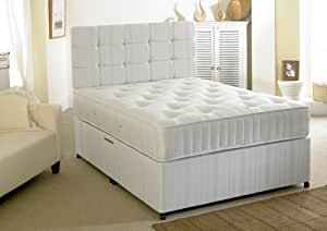 Happy beds ortho extra firm divan bed set with orthopaedic for Double divan bed with drawers and headboard