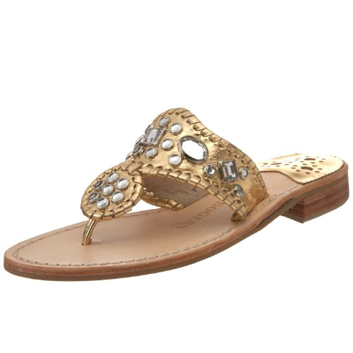 Jack Rogers Women's Zsa Zsa Jeweled Thong Sandal,Gold,8 M US