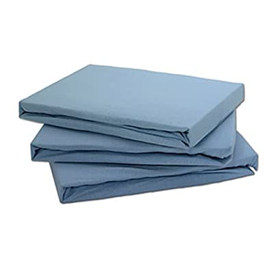Jersey 100% Cotton Fitted Sheet Blue