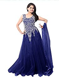 Kisha Cholli Collection Women's Net Unstitched Anarkali Set (cm456_Blue_Freesize)