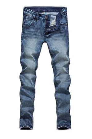 Wantdo Men New Fashion Casual Plus Size Basic Stretch Skinny Jean 2014(Blue,31W)