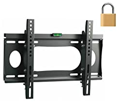 InstallerParts Flat TV Mount 23 37 Lockable Tilt Slim Type WLT102S-- For LCD LED Plasma TV Flat Panel Displays -- This Locking Wall Mount Bracket is Perfect for Hotels or Outdoor Locations. Fits Toshiba Samsung LG Vizio Panasonic Sony and More