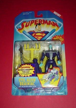 Superman: Evil Alien Brainiac Figure with Blasting Space Sled