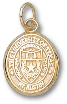 Texas Longhorns Oval Seal 1 2 Charm - 14KT Gold Jewelry by Logo Art