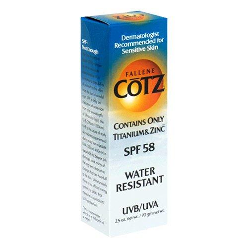 Fallene Cotz SPF 58 Water Resistant UVB/UVA Sunscreen for Sensitive Skin, 2.5-Ounce Tube