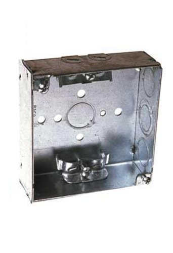Steel City 4-Sw-Mxn Pre-Galvanized Steel Square Box With Mxn Armored Cable Clamps And 1/2-Inch Knockouts