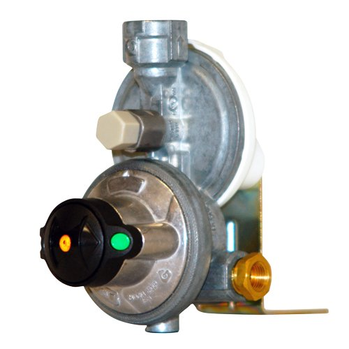 """Mr. Heater F273766 Propane Auto-Changeover Two Stage Regulator 2-1/4"""" Inverted Female Flair Inlets X 3/8"""" Female Pipe Outlets"""