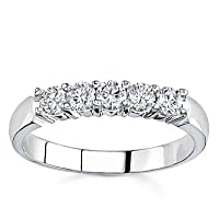 18k White Gold Five-Stone Diamond Band (G/VS2, 1/2 ct. tw.)