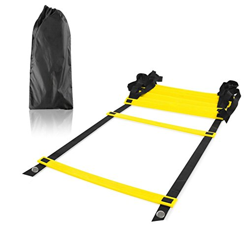 Image Durable 8-rung Agility Ladder for Soccer, Speed, Football Fitness, Feet Training & Serious Athletes (Yellow, 4-meter)
