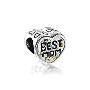 Mothers Day Gifts Bling Jewelry 925 Silver Heart Best Mom Bead Compatible with Pandora Chamilia Troll Biagi Charms