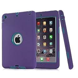 Ipad Mini Case, H&T(TM) Unique Silicone Design Soft Ipad Mini 3 In1 Hybrid Shockproof Protective Cover Case for Apple Ipad Mini 3/ 2/ 1 (Purple)