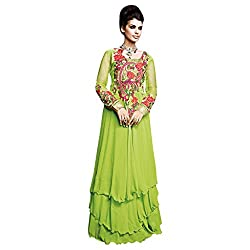 Yes Fashions Women's Party wear Green Georgette+Sleeves Net Semi Stitched Salwar Suit
