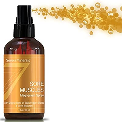 Seven Minerals Sore Muscles Magnesium Spray 4 Oz  Organic Blend Of Black Pepper, Orange & Sweet Marjoram Oils   For Joints, Cramps, Stiffness, Pain Relief, Improved Circulation, Fibromyalgia & More