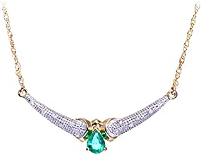 Naava 9ct Yellow Gold Diamond and Emerald Women's Necklace