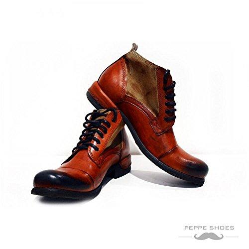 Modello Genova - 44 UE - fatti a mano scarpe di cuoio italiane Colorful scarpe stivali da uomo Up casual formale Premium Unique Vintage Alti merletto delle