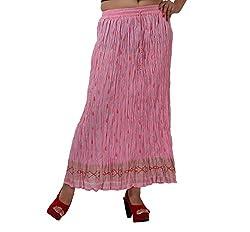 Jaipuri Cotton Crinkled Long Skirt
