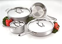 Hot Sale All-Clad 700393 Master Chef 2 Stainless Steel Tri-Ply Bonded Dishwasher Safe 7-Piece Cookware Set, Silver