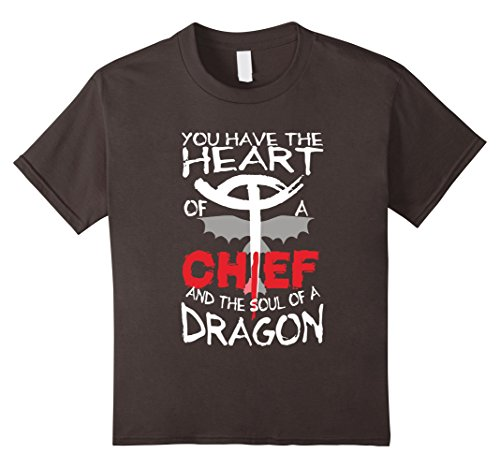 [Kids Toothless T-shirt - Heart Of A Chief Tshirt - Dragon Shirts 12 Asphalt] (Kids Toothless Night Fury Costumes)