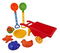 Beach Wheelbarrow Wagon Toy Set for Kids with Sand Shovel & Sifting Pans by Beach Toys
