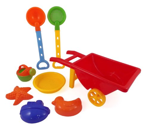 Beach Wheelbarrow Wagon Toy Set for Kids with Sand Shovel & Sifting Pans