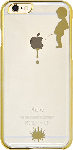PLATA iPhone 6 iPhone6s 4.7インチ 用 リンゴマーク アート ケース iPhone 6 6s 【 小便小僧 ゴールド 】 IP6-5024GD