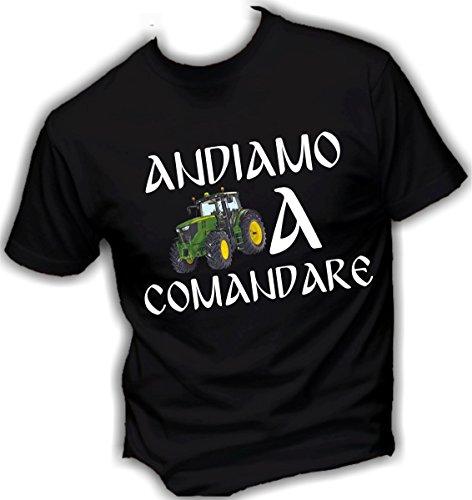 T-shirt UOMO cotone BASIC super vestibilità top qualità - ANDIAMO A COMANDARE novità fashion divertenti humor MADE IN ITALY (M, NERO)