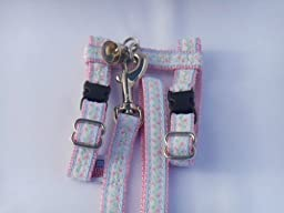Blue Rosebuds on Lt. Pink Adjustable Ferret Harness with Bell and Matching 4 Ft. Leash