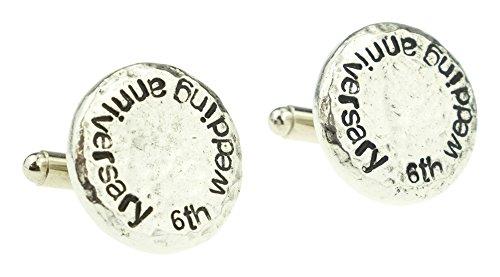6th Wedding Anniversary Gift Ideas For Husband : ... Anniversary-Hammered-Cuff-links-for-Husband-6th-Anniversary-Gift-Idea