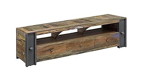 Sólido Almira de mueble Tv con 3 cajones-estilo industrial