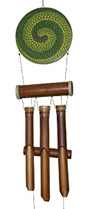 Cohasset Muted Green and Gold Swirl Dots Harmony Bamboo Wind Chime