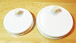 6 QRP Mason Jar Drinking / Fermentation Lids Caps Food Grade w/installed Grommets, Seals & Stoppers (6 WIDE MOUTH)