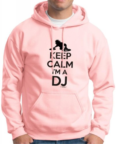 Keep Calm I'M A Dj Hoodie Sweatshirt Medium Light Pink
