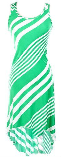 In Brightly Colored Green and White Maxi Dress with Hi-Lo Design (Small)