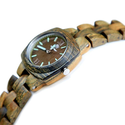Topwell� Square Case Round Dial Women's Bracelet Watches Handmade Green Wooden Watches for Women Girl Gift Water Resistent quartz analogue watch