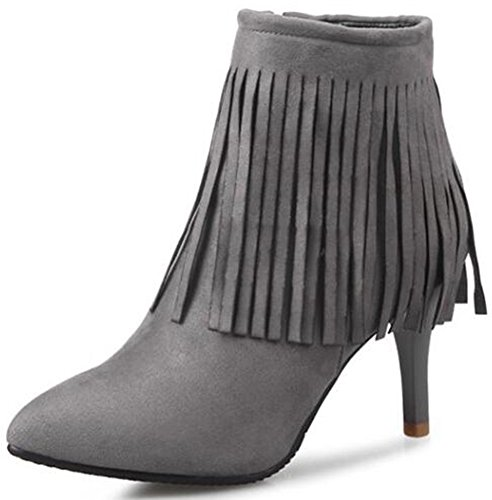 Women's Sexy Fringes Pointed Toe Stiletto High Heel Side Zipper Ankle Booties