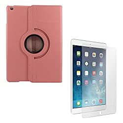 DMG PU Leather 360 Degrees Rotating Stand Case for Apple iPad Air 2 iPad 6 (Pink) + Matte Anti-Glare Screen Protector