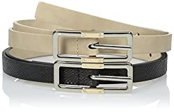 Steve Madden Women's Two For One Belt Set with Two Tone Elongated Buckles, Taupe/Black, Large