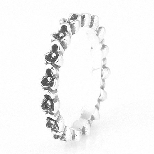 Taotaohas-(1Pc) Oxidized Antique 100% Solid Sterling 925 Silver Ring, [ Name: Floral Elegance, Uk Size: S 1/2, Us Size 9, Eu Size 58 ], Fit European Bracelets Necklaces Chains, Troll, Biagi Glass Charm Beads