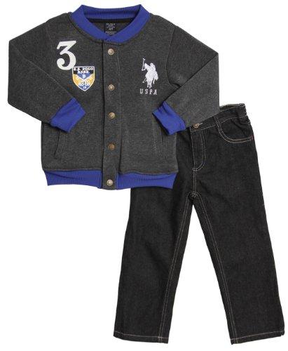 U.S. Polo Assn. Little Boys' Baseball Bomber Jacket And Five Pocket Jean, Dark Heather Grey, 3T