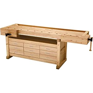 Grizzly H8110 Euro Style Birch Workbench with  9 Drawers
