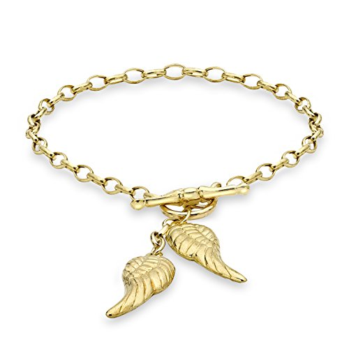 Carissima Gold 9 ct Yellow Gold Angel Wings T-Bar Bracelet of 18 cm/7-inch