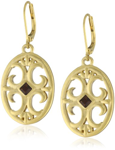 T Tahari Gold Drop Surface Mount Crystal Earrings