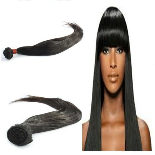 "Yesurprise Top Quality 24"" Straight 100% Virgin Remy Human Hair Weave Weft Natural Black 100G"