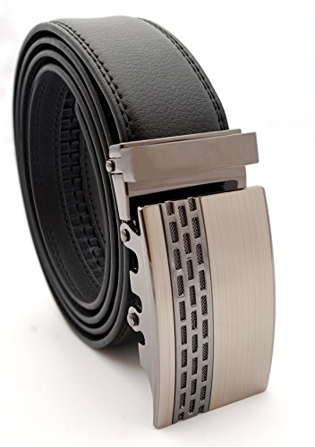 dBurg Products No Holes One Size Adjustable All Leather Black Ratchet Belt With Brushed Gun Metal Silver Buckle and Black Accent Design