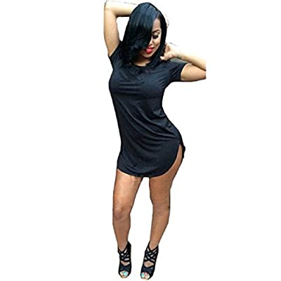 Malloom Women Hot Sexy Short Sleeve Side Slit Shirt Party Mini Dress