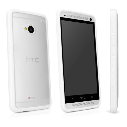 BoxWave HTC One (M7 2013) UniColor Case - Sleek Dual Tone TPU Case for Durable Anti-Slip Protection, Transparent Matte Back with Solid Border - HTC One (M7 2013) Cases and Covers (Frosted White)