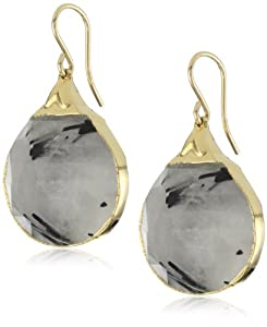 Devon Leigh Black Rutilated Quartz Nugget in 24k Gold Foil Earrings